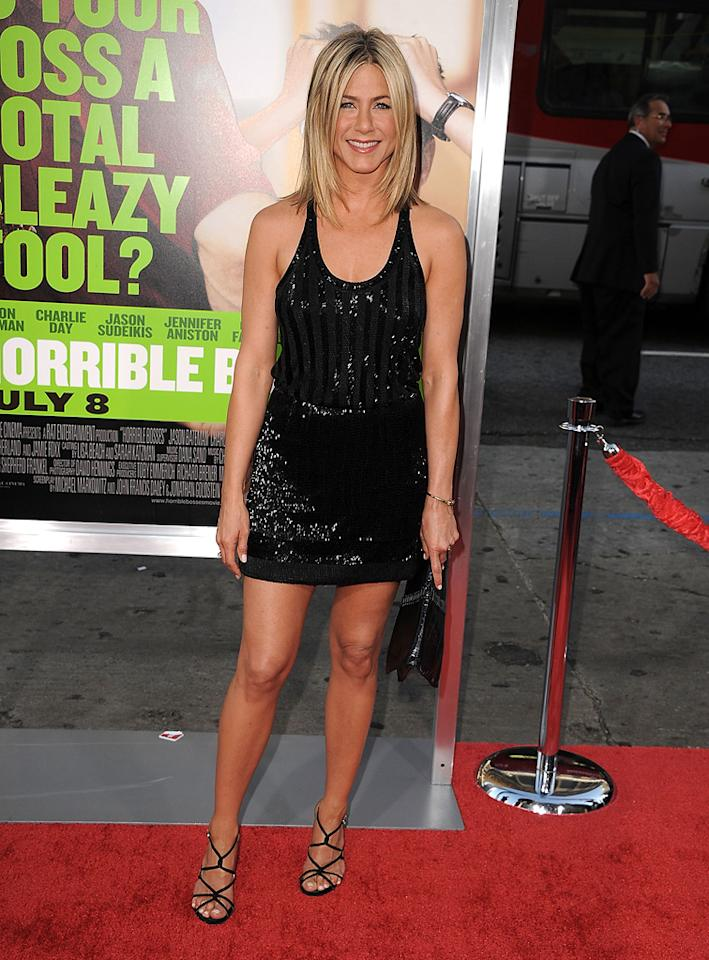 """<a href=""""http://movies.yahoo.com/movie/contributor/1800021397"""">Jennifer Aniston</a> at the Los Angeles premiere of <a href=""""http://movies.yahoo.com/movie/1810161382/info"""">Horrible Bosses</a> on June 30, 2011."""