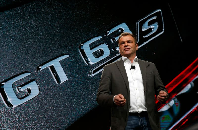 Mercedes-AMG's Moers speaks during the presentation of the GT 63S at the New York Auto Show in New York