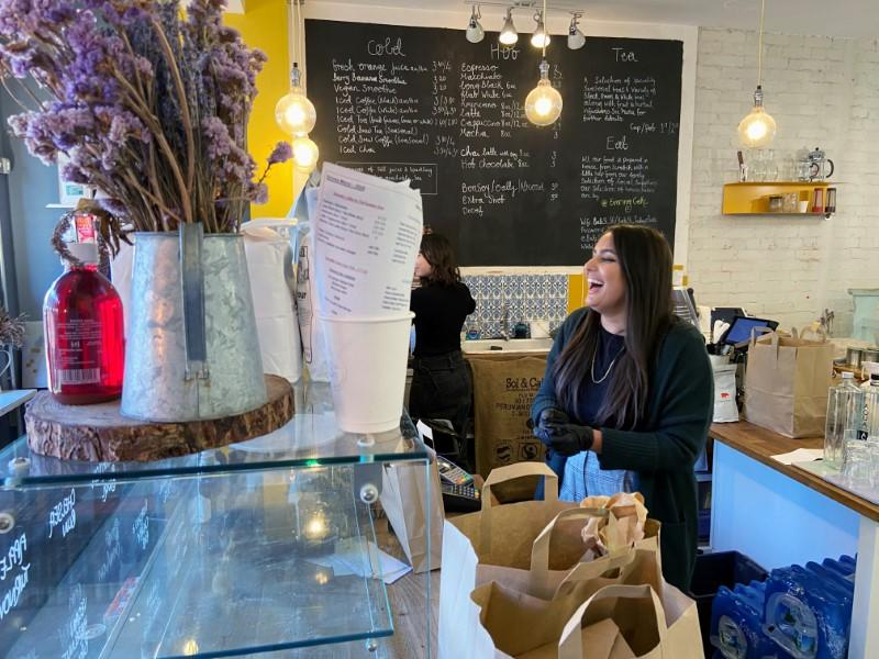 London Cafe owner Amira Gajia shuts down her cafe in Hackney to volunteer her services to the NHS, one of over 400,000 people to respond to British PM Johnson's call, as the spread of the coronavirus disease (COVID-19) continues, in London