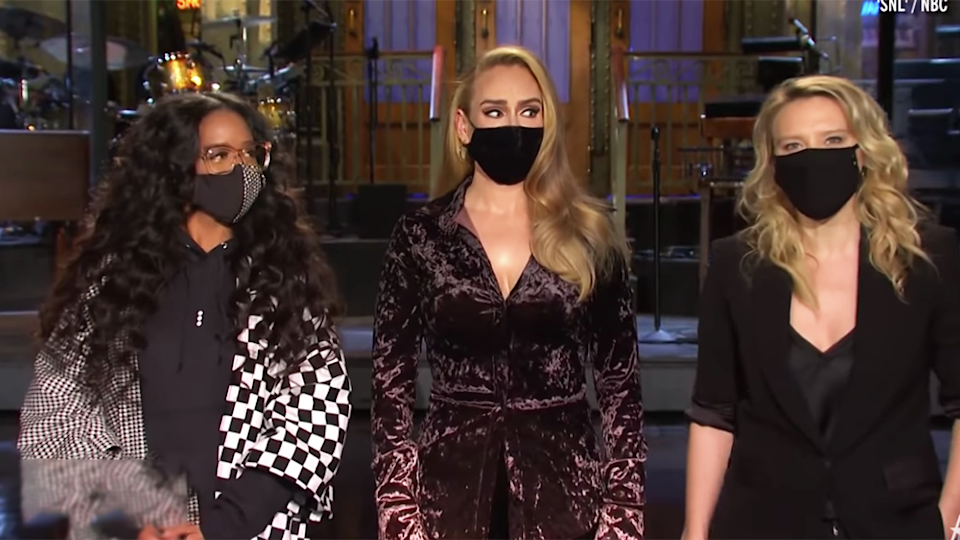 H.E.R, Adele Kate McKinnon on SNL promo sport masks, Adele unrecognisable say fans