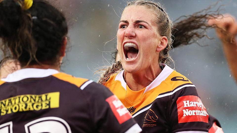 Brisbane Broncos captain Ali Brigginshaw is pictured during the 2020 NRLW grand final.