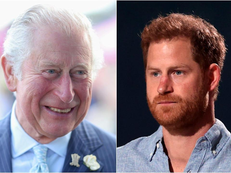 A composite photo of Prince Charles on the left and Prince Harry on the right.