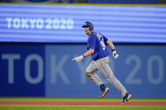 Israel's Ryan Lavarnway Rounds the basses after hitting a home run in the ninth inning a baseball game against South Korea at the 2020 Summer Olympics, Thursday, July 29, 2021, in Yokohama, Japan. (AP Photo/Sue Ogrocki)