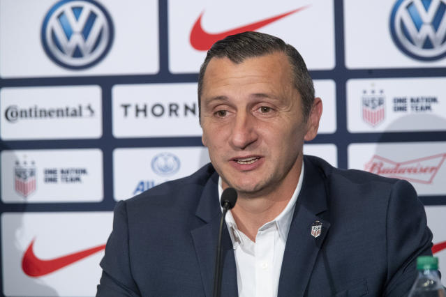 Vlatko Andonovski speaks during a news conference Monday, Oct. 28, 2019, in New York. U.S. Soccer president Carlos Cordeiro named Andonovski as head coach in U.S. Women's National Team on Monday. (AP Photo/Mary Altaffer)
