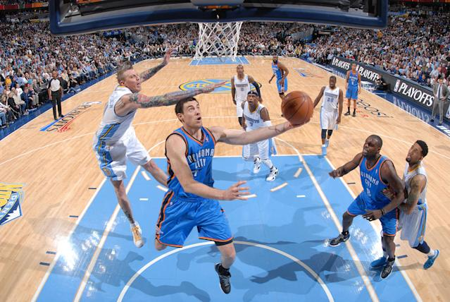 """<a class=""""link rapid-noclick-resp"""" href=""""/nba/players/3715/"""" data-ylk=""""slk:Nick Collison"""">Nick Collison</a>, one of only two remaining players who'd been with the Thunder since their arrival in Oklahoma City, announced his retirement on Thursday. (Getty)"""