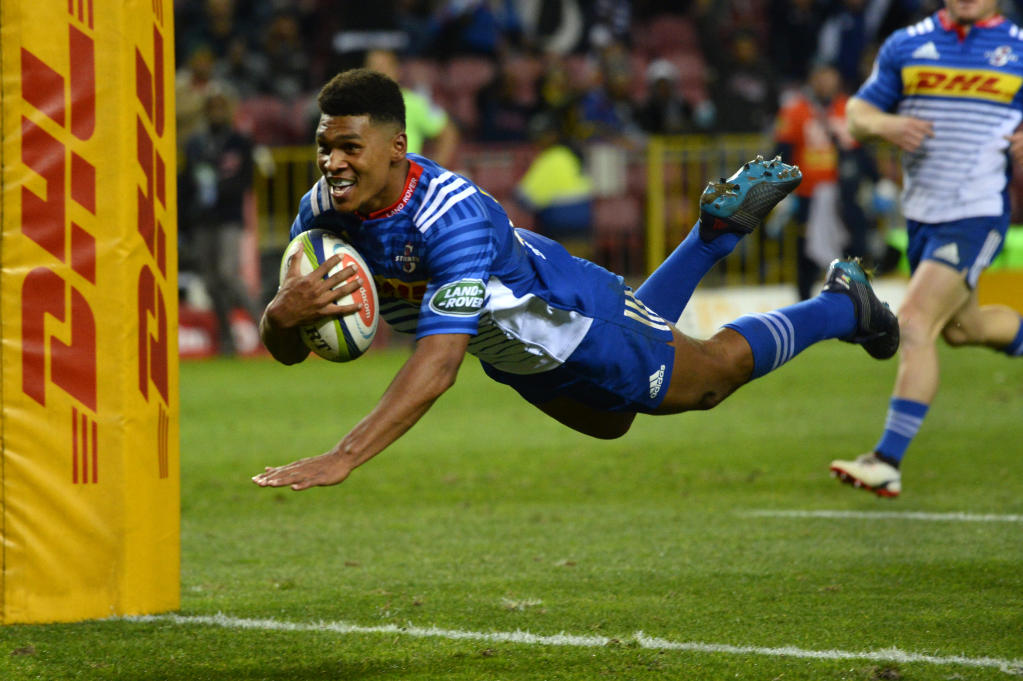 Stormers' Damian Willemse scores a try during against Japan's Sunwolves (AFP Photo/RODGER BOSCH)