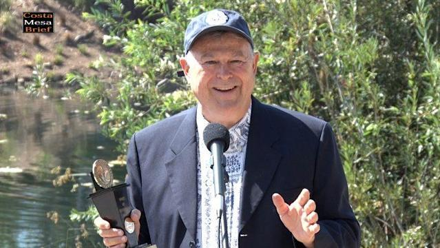 "Rep. Dana Rohrabacher, R-Calif., after receiving a ""Spirit of Enterprise"" award from the Newport Beach Chamber of Commerce on July 21, 2017. (Photo: Costa Mesa Brief video)"