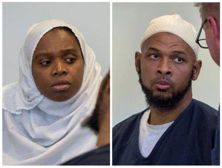 FILE PHOTO: A combination photo of defendants Jany Leveille and Siraj Ibn Wahhaj during a hearing in Taos District Court in Taos County New Mexico