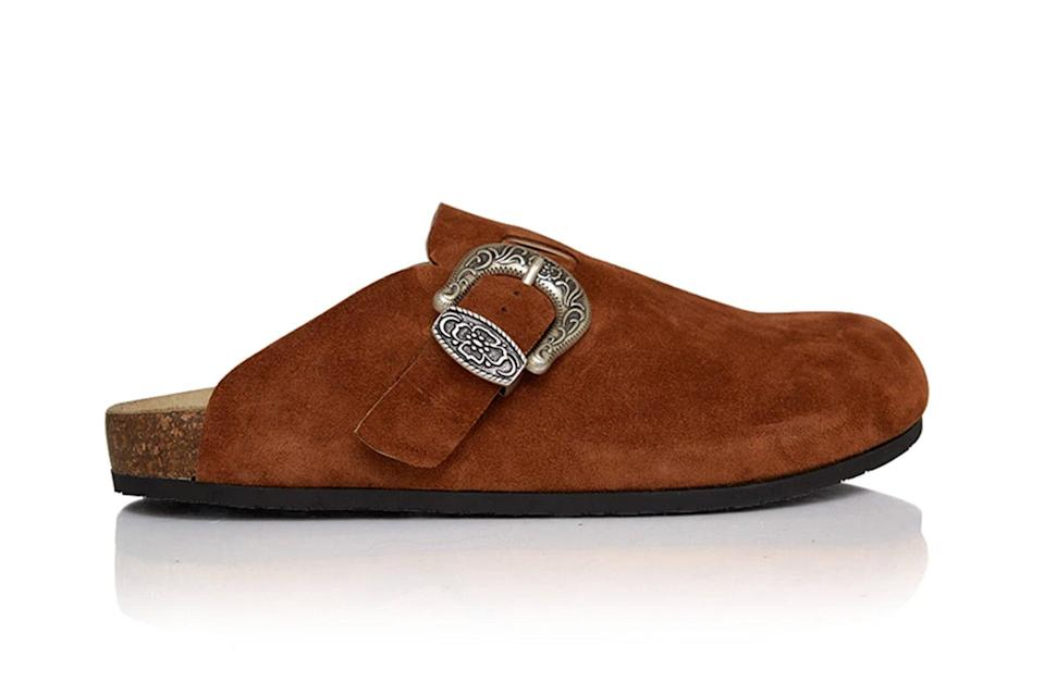"$395, Brother Vellies. <a href=""https://brothervellies.com/collections/flats/products/greg-shoe-in-cognac"" rel=""nofollow noopener"" target=""_blank"" data-ylk=""slk:Get it now!"" class=""link rapid-noclick-resp"">Get it now!</a>"