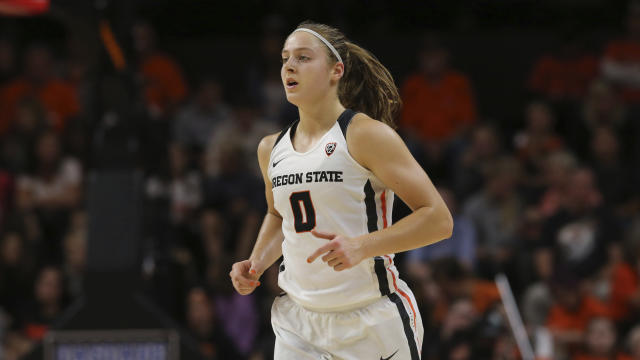 Oregon State's Mikayla Pivec is leading her team through a season-opening tournament test. (AP Photo/Chris Pietsch)
