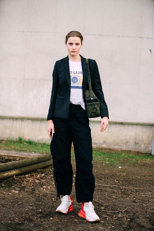 <p>For a street style look, style yours with a half tucked-in tee, blazer, and cool sneakers.</p>