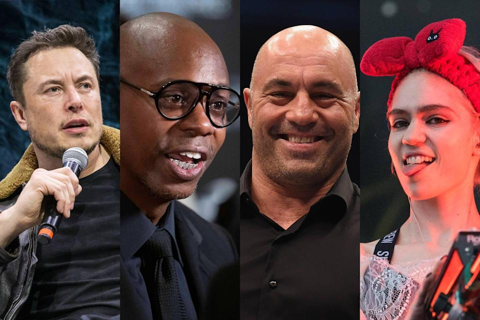 Elon Musk, from left, Dave Chappelle, Joe Rogan and Grimes have been hanging out in Austin.