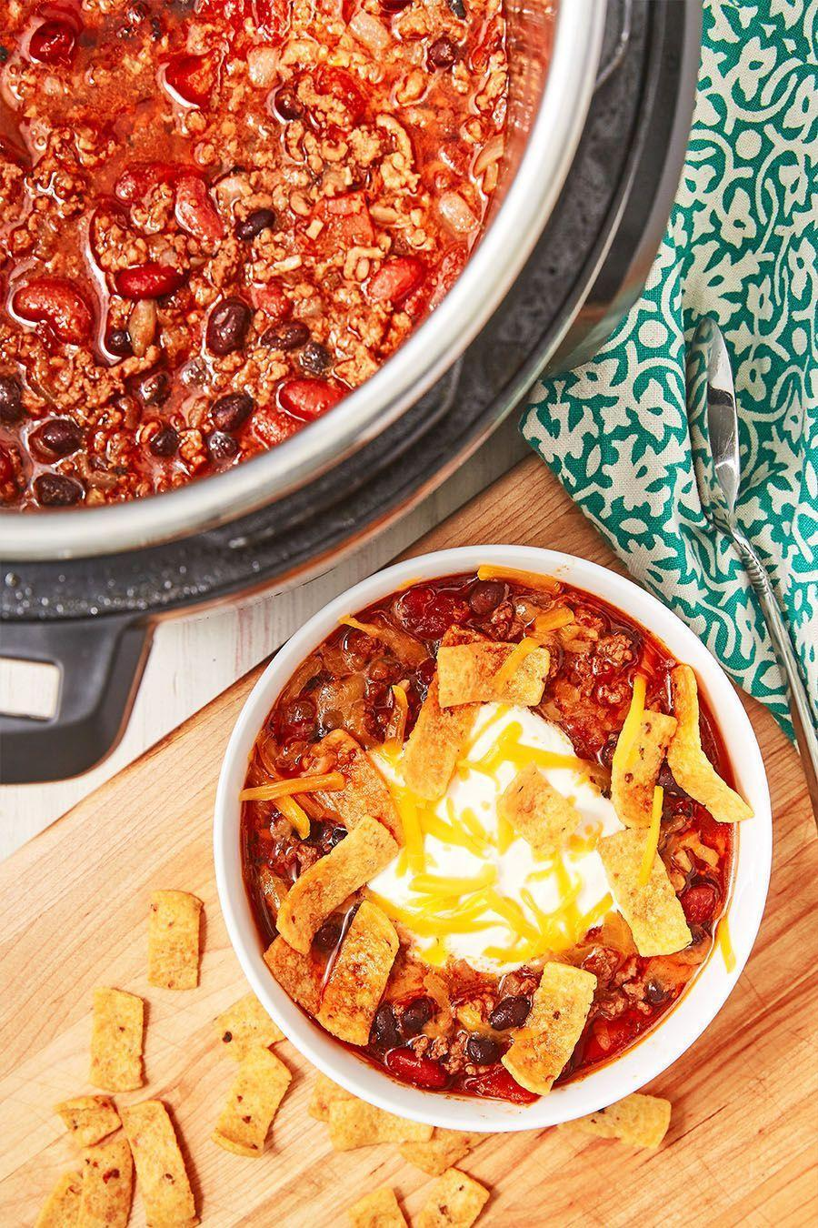 """<p>If there's one thing the Instant Pot does well, it's chilli. The pot takes away all of the legwork of standing and stirring over the stove for forever. This is now our favourite <a href=""""https://www.delish.com/uk/cooking/recipes/a28886316/best-homemade-chilli-recipe/"""" rel=""""nofollow noopener"""" target=""""_blank"""" data-ylk=""""slk:Chilli Recipe"""" class=""""link rapid-noclick-resp"""">Chilli Recipe</a>. It's so flavourful! Swap in different beans or use minced turkey instead. It will all come out delicious! </p><p>Get the <a href=""""https://www.delish.com/uk/cooking/recipes/a30208142/instant-pot-chili-recipe/"""" rel=""""nofollow noopener"""" target=""""_blank"""" data-ylk=""""slk:Instant Pot Chilli"""" class=""""link rapid-noclick-resp"""">Instant Pot Chilli</a> recipe.</p>"""
