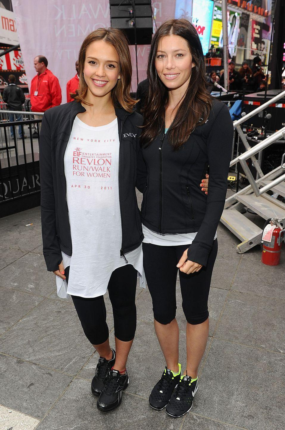 """<p>Jessica's Instagram is filled with photos of herself and her workout friends. 'I really like taking group classes, or I like to work out with friends,' she told <a href=""""https://www.byrdie.com/jessica-alba-diet-fitness-tips"""" rel=""""nofollow noopener"""" target=""""_blank"""" data-ylk=""""slk:Byrdie"""" class=""""link rapid-noclick-resp"""">Byrdie</a>. 'I'll always work out with a friend because it's more fun.'</p>"""