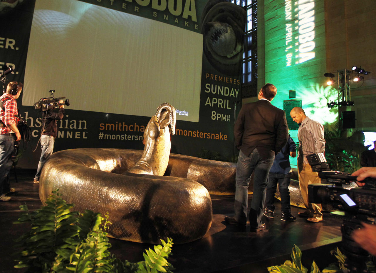 Titanoboa scale model revealed at Grand Central Terminal on Thursday, March 22. (Photo Credit: Mark Von Holden/ Smithsonian Channel)