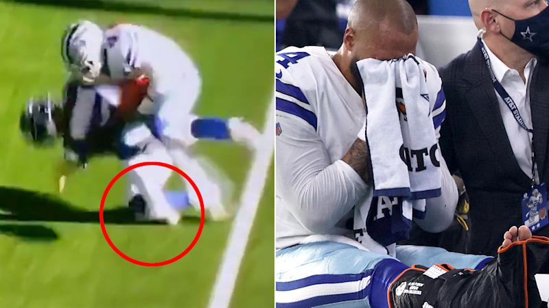Pictured here, Dak Prescott is in tears after suffering a horror ankle injury.