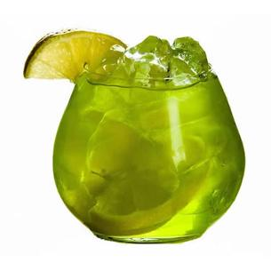 Green devil - Place the ice, gin, crème de menthe green and lime juice in the shaker. Shake vigorously for 8-10 seconds. Strain the mixture into martini glass and garnish it with maraschino cherries with stem