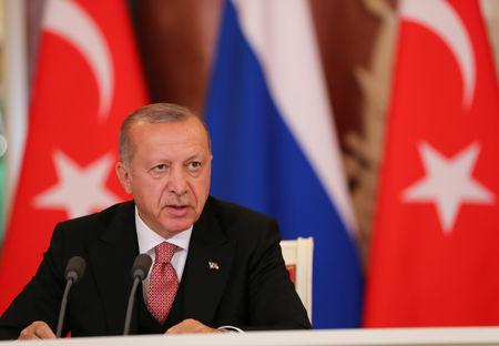 Turkish President Erdogan speaks during a news conference in Moscow