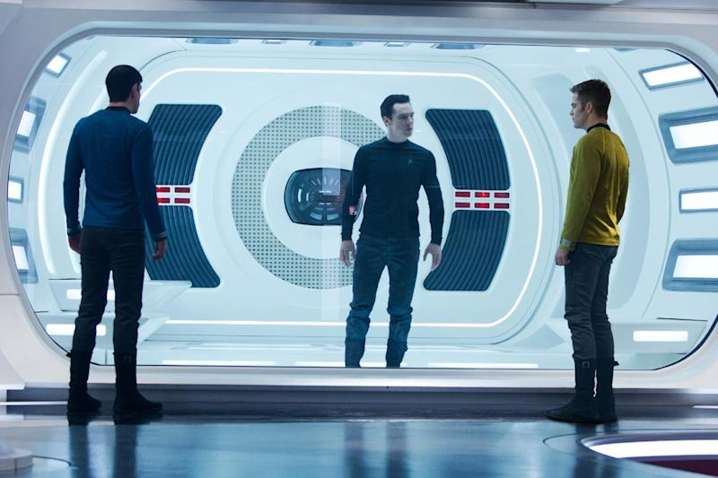 """This undated publicity film image released by Paramount Pictures shows, from left, Zachary Quinto, as Spock, Benedict Cumberbatch as John Harrison, and Chris Pine as Kirk, in a scene in the movie, """"Star Trek Into Darkness,"""" from Paramount Pictures and Skydance Productions. (AP Photo/Paramount Pictures, Zade Rosenthal)"""
