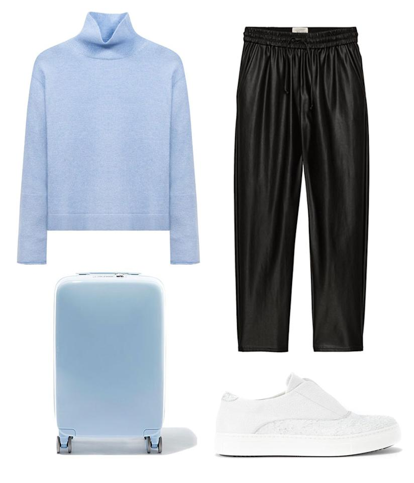 <p>Travel in both style and comfort this Thanksgiving by pairing Naadam's sweater with an equally comfortable vegan leather trouser from Aritzia. It will keep you cozy and warm but still looking polished as you zigzag through what will surely be long lines at the airport. </p>