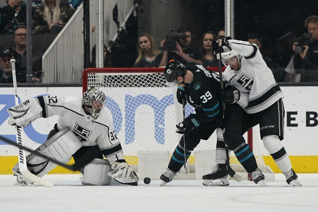 San Jose Sharks center Logan Couture (39) scores a goal past Los Angeles Kings goaltender Jonathan Quick (32) during the second period of an NHL hockey game in San Jose, Calif., Friday, Nov. 29, 2019. (AP Photo/Tony Avelar)