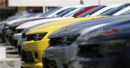 A group of Chevrolet Camaro cars for sale is pictured at a car dealership in Los Angeles, California