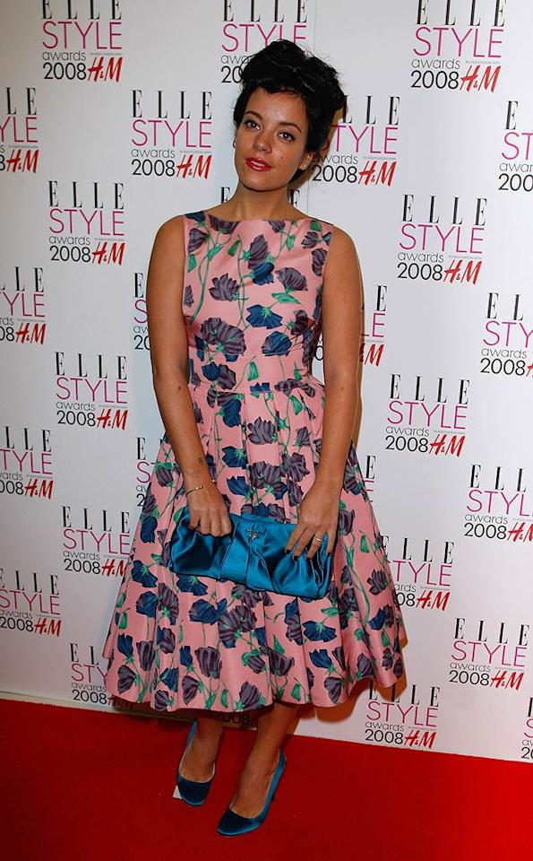 "Lily Allen channels 1950s glam with her upswept hairdo and floral print. Jon Furniss/<a href=""http://www.wireimage.com"" target=""new"">WireImage.com</a> - February 12, 2008"