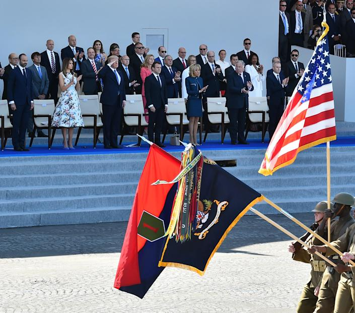 The Trumps and the Macrons attending a military parade in Paris, July 14, 2017. (Photo: Mustafa Yalcin/Anadolu Agency/Getty Images)