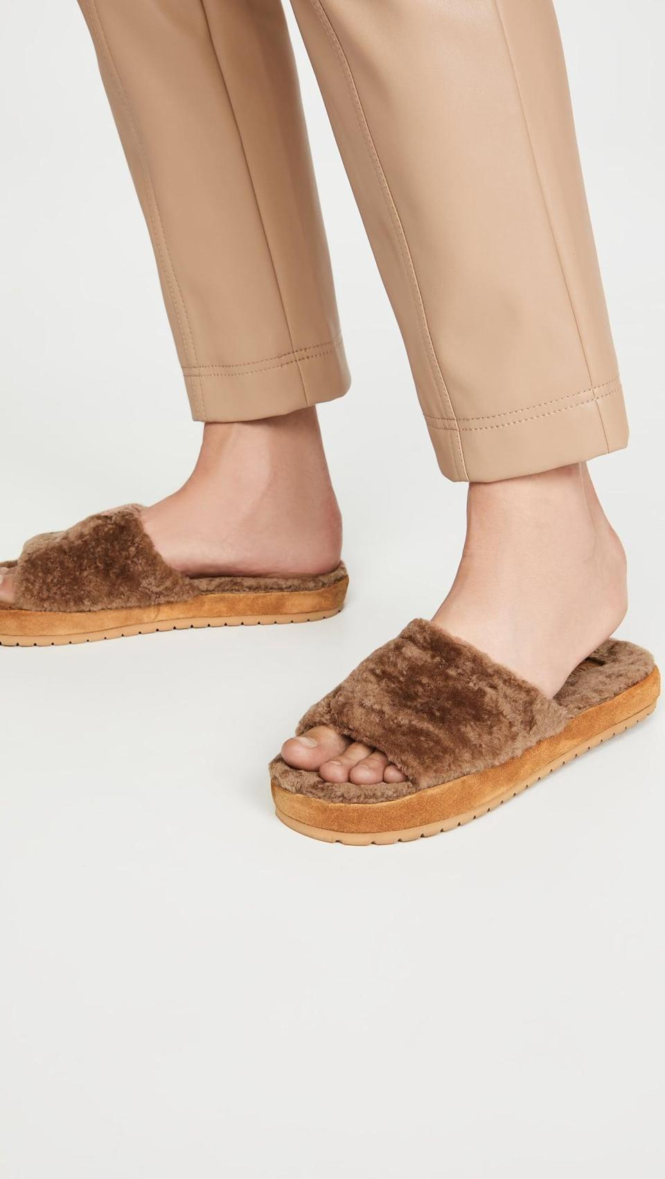 <p>We're dreaming of these cozy <span>Vince Kalina Slide Slippers</span> ($125).</p>