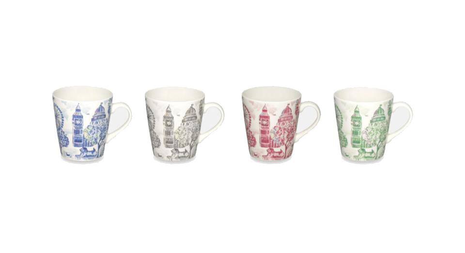 London Toile Set of 4 Mini Stanley Mugs