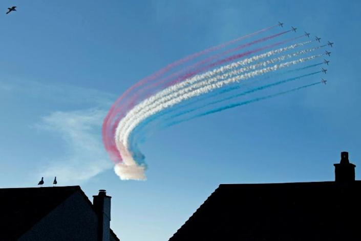 An informal evening get-together included a Royal Air Force aerobatics display by the Red Arrows