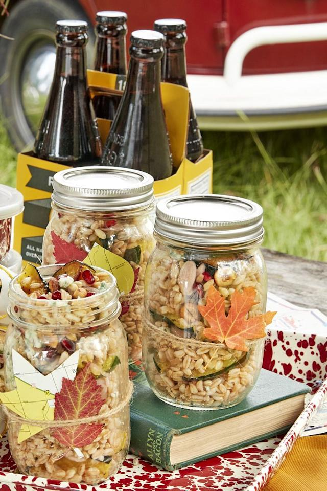 """<p>Make this recipe for a hearty lunch—it's packed with blue cheese, hazelnuts, and pomegranate seeds. You can even eat it out of a <a href=""""https://www.countryliving.com/diy-crafts/g1916/mason-jar-fall-crafts/"""">Mason jar</a>, seen here, for an easy, reusable container. </p><p><strong><a href=""""https://www.countryliving.com/food-drinks/a24416787/farro-and-acorn-squash-salad-recipe/"""">Get the recipe</a>.</strong></p><p><a class=""""body-btn-link"""" href=""""https://www.amazon.com/Ball-Regular-32-Ounces-2-Units-Pack/dp/B01N6QBJG0/?tag=syn-yahoo-20&ascsubtag=%5Bartid%7C10050.g.4695%5Bsrc%7Cyahoo-us"""" target=""""_blank"""">SHOP MASON JARS</a></p>"""