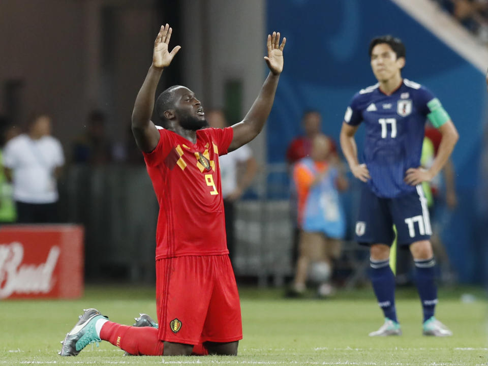 Romelu Lukaku celebrates Belgium's stunning World Cup Round of 16 comeback against Japan. (AP)