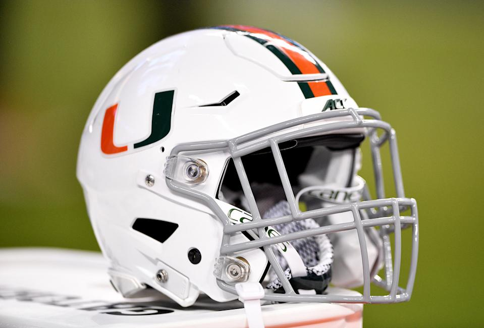 MIAMI, FLORIDA - NOVEMBER 23:  A general view of the Miami Hurricanes helmet with a gray facemask during the game against the FIU Golden Panthers in the second half at Marlins Park on November 23, 2019 in Miami, Florida. (Photo by Mark Brown/Getty Images)