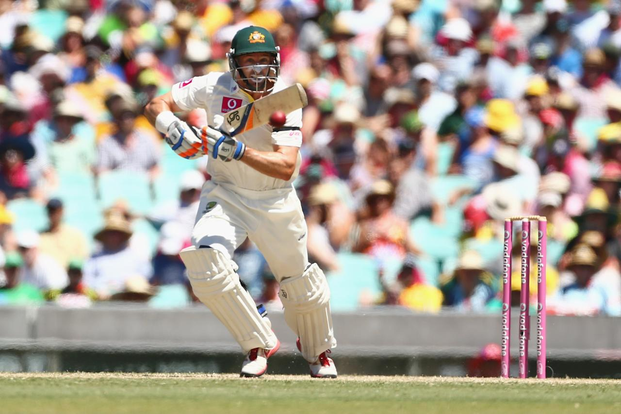 SYDNEY, AUSTRALIA - JANUARY 04:  Michael Hussey of Australia bats during day two of the Third Test match between Australia and Sri Lanka at Sydney Cricket Ground on January 4, 2013 in Sydney, Australia.  (Photo by Mark Kolbe/Getty Images)