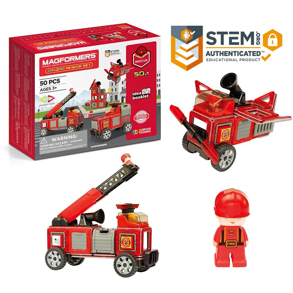 "<p>Kids ages 3 and up can build and create their own fire adventures with the 50-piece <a href=""https://www.popsugar.com/buy/Magformers-Amazing-Rescue-Set-493062?p_name=Magformers%20Amazing%20Rescue%20Set&retailer=walmart.com&pid=493062&price=60&evar1=moms%3Aus&evar9=46804434&evar98=https%3A%2F%2Fwww.popsugar.com%2Ffamily%2Fphoto-gallery%2F46804434%2Fimage%2F46804929%2FMagformers-Amazing-Rescue-Set&list1=toys%2Cgift%20guide%2Cwalmart%2Cgifts%20for%20kids%2Ckid%20shopping%2Ckids%20toys&prop13=mobile&pdata=1"" rel=""nofollow"" data-shoppable-link=""1"" target=""_blank"" class=""ga-track"" data-ga-category=""Related"" data-ga-label=""https://www.walmart.com/ip/Magformers-Amazing-Rescue-50-Pieces-Wheels-red-colors-Magnetic-Geometric-tiles-STEM-Toy-Ages-3/876790415"" data-ga-action=""In-Line Links"">Magformers Amazing Rescue Set</a> ($60).</p>"
