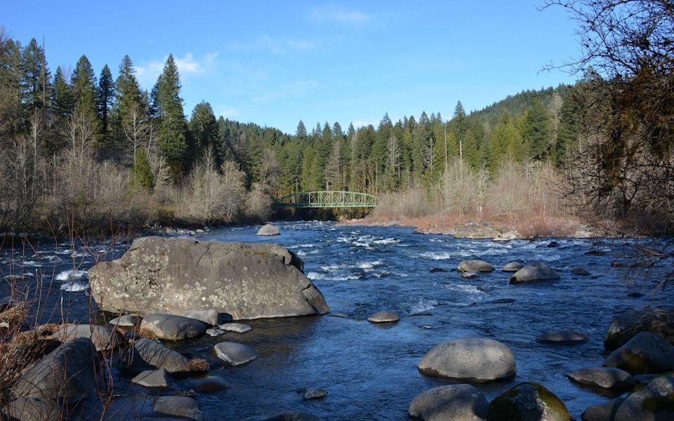 The Sandy River and Lusted Road Bridge, an iron truss bridge, at Dodge Park, Clackamas County, Oregon - Rosemary Behan