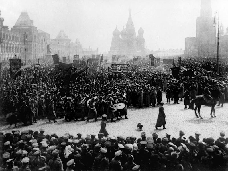A parade and demonstration in Red Square, Moscow, to commemorate the First of May (Russia's Labour Day) in 1917: Slava Katamidze Collection/Getty