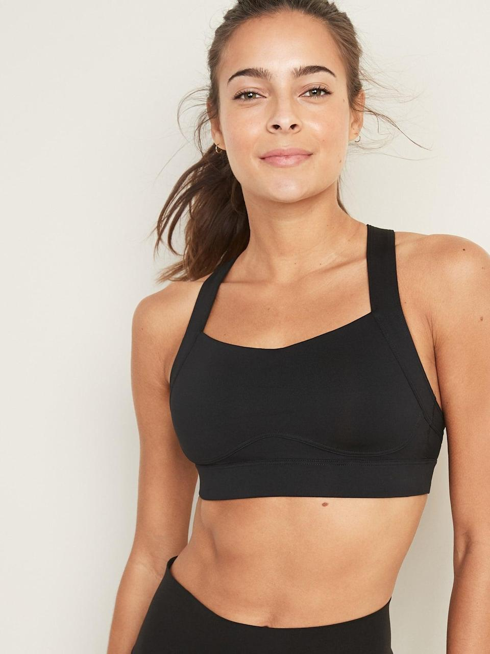 <p>The <span>High Support Cross-Back Sports Bra </span> ($20-$28, originally $33) is made of a soft jersey that offers comfortable stretch. Since it's a cross-back sports bra that gives your shoulders a ton of freedom to move, I'd wear this for boxing.</p>