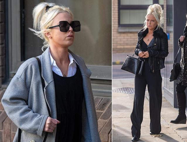 Chloe Haines, pictured left on Wednesday outside court, and right, in November. (PA Images)