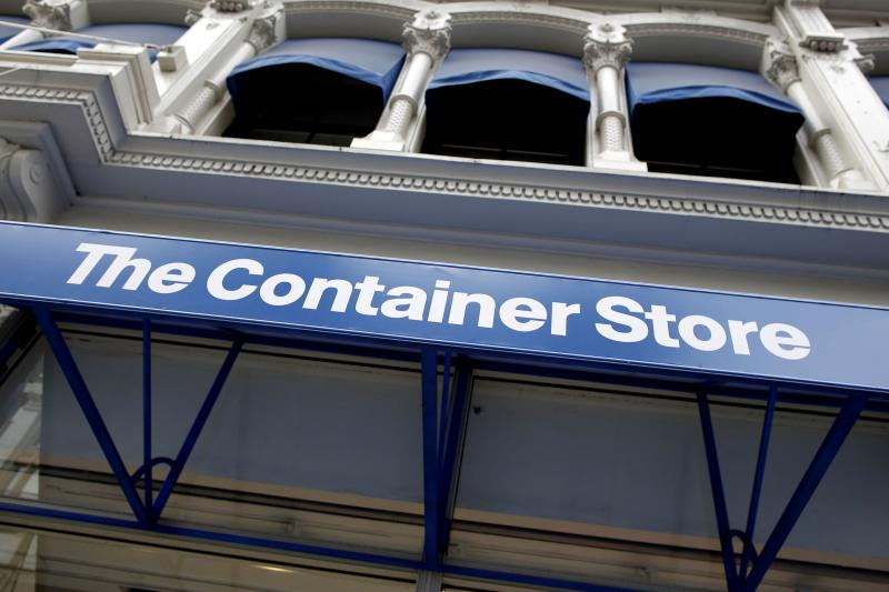 Signage is seen at a Container Store in New York