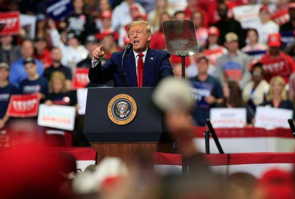 PHOTO: President Donald Trump speaks to supporters during a rally, March 2, 2020, in Charlotte, N.C. (Brian Blanco/Getty Images, FILE)
