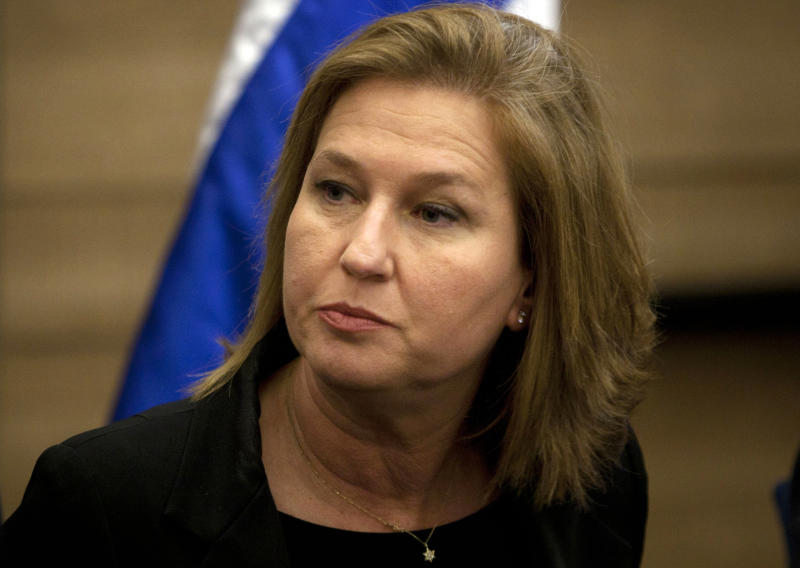 FILE - In this Wednesday, Nov. 30, 2011 file photo, former Israeli Foreign Minister Tzipi Livni attends a news conference at the Knesset, Israel's parliament, in Jerusalem. Tzipi Livni, a former foreign minister who now leads a small, dovish party, has been pointed to serve as Netanyahu's chief negotiator. Livni has good working relations with the Palestinians. (AP Photo/Sebastian Scheiner, File)