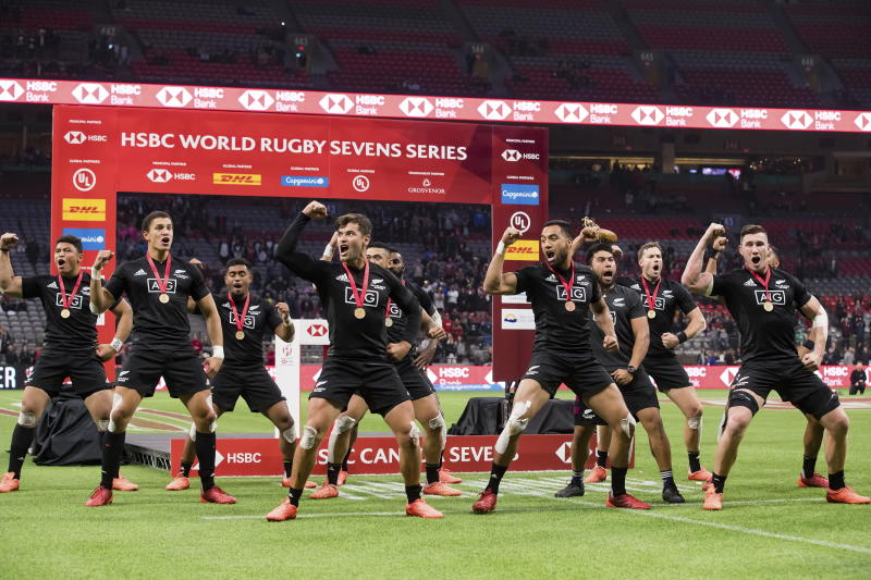New Zealand players perform the haka after defeating Australia during the final at the Canada Sevens rugby tournament in Vancouver, British Columbia, Sunday, March 8, 2020. (Darryl Dyck/The Canadian Press via AP)