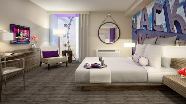 Guest room at the Linq in Las Vegas