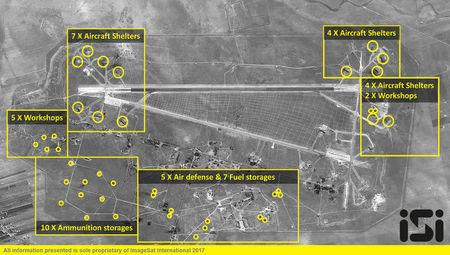 The Syrian Shayrat airfield base is pictured in undated before and after (taken April 7, 2017) satellite imagery, in Homs Syria. ImageSat International N.V. © 2017/Handout via REUTERS