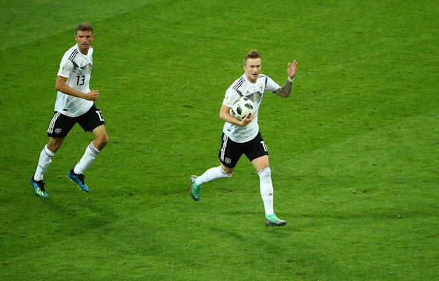 Soccer Football - World Cup - Group F - Germany vs Sweden - Fisht Stadium, Sochi, Russia - June 23, 2018 Germany's Marco Reus celebrates scoring their first goal with Thomas Muller REUTERS/Hannah McKay