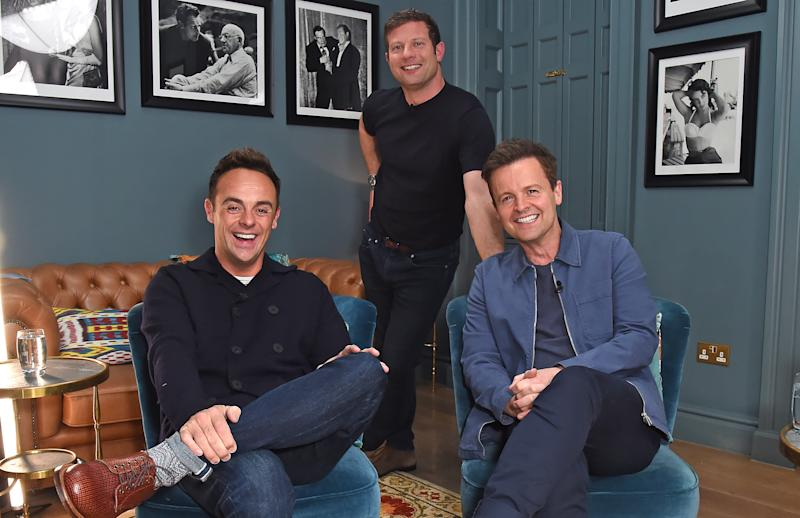 "LONDON, ENGLAND - SEPTEMBER 11: (L to R) Anthony McPartlin, Dermot O'Leary and Declan Donnelly pose backstage at ""In Conversation With Ant & Dec"", a live stream celebrating 30 years in television and their new book ""Once Upon A Tyne"", at The London Palladium on September 11, 2020 in London, England. (Photo by David M. Benett/Dave Benett/Getty Images)"
