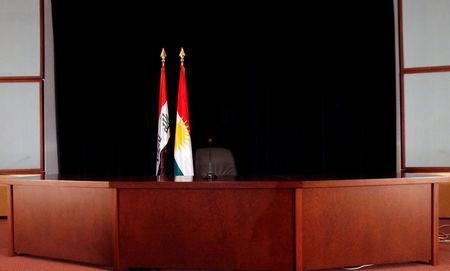 The platform of Iraqi Kurdish president Masoud Barzani press conference is seen before his coming in Erbil, Iraq September 24, 2017. REUTERS/Azad Lashkari