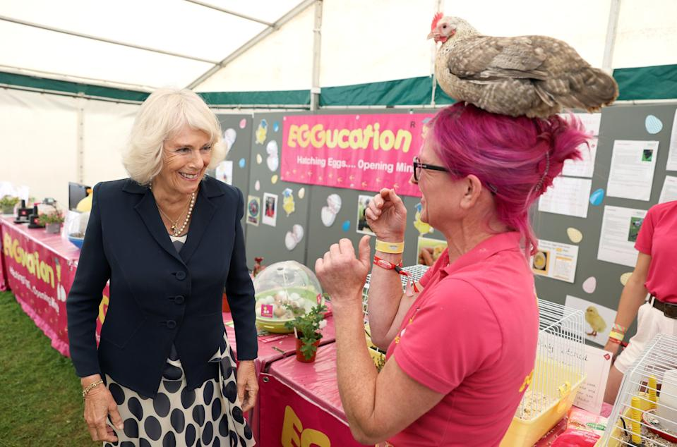 The Duchess of Cornwall meets Deb Howe, who has a chicken on her head (Chris Jackson/PA) (PA Wire)